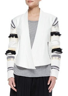 Tibi Fringe-Embroidered Cropped Open Jacket