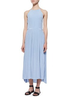 Tibi Halter-Neck Plisse-Skirt Dress, Cirrus Blue