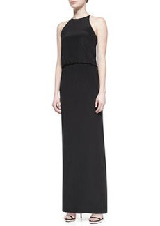 Tibi Heavy Silk Long Halter Dress, Black