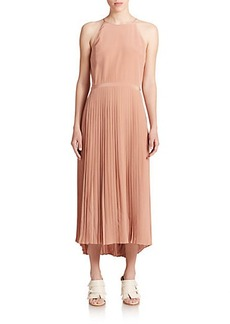 Tibi Heavy Silk Pleated Midi Dress