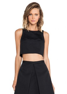 Tibi Katia Faille Crop Tank in Black