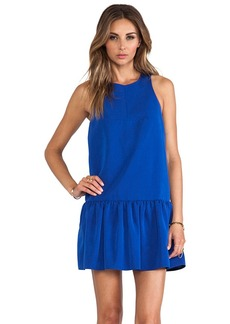 Tibi Katia Faille Dress in Blue