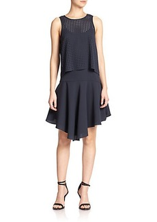 Tibi Laser-Cut Tiered Dress