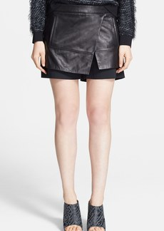 Tibi Leather & Wool Asymmetrical Skort