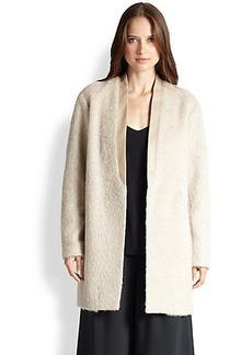 Tibi Leather-Trimmed Oversized Shaggy Cardi-Coat