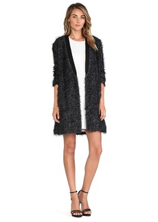 Tibi Long Cardigan Coat in Black