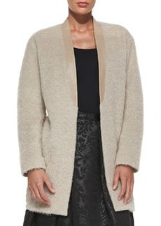 Tibi Long Mohair Cardigan with Leather Collar
