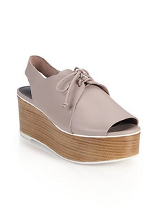 Tibi Malone Lace-Up Leather Platform Wedge Sandals