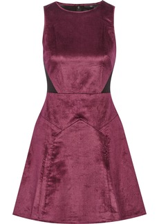 Tibi Mesh-paneled velvet mini dress