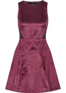 Tibi Mesh-paneled velvet mini dress