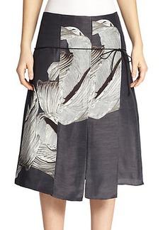 Tibi Midori Silk Pleated Floral-Print Skirt