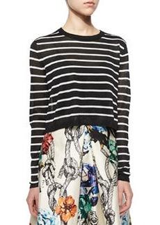 Tibi Nautical-Stripe Cropped Pullover Sweater
