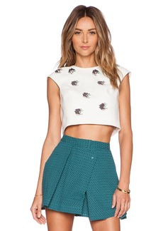 Tibi Nuage Cap Sleeve Cropped Top