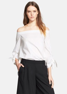 Tibi Off the Shoulder Cotton Poplin Tunic