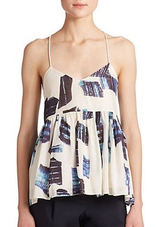 Tibi Ori Printed Silk & Linen Pleated Tank Top