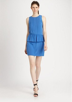 Tibi Pearl Silk Pintucked Peplum Dress