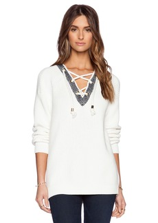 Tibi Plaited Half Lace-Up Pullover