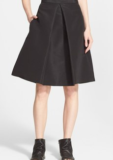 Tibi Pleated Silk Faille A-Line Skirt