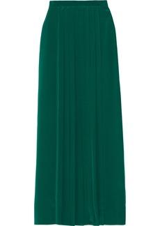 Tibi Pleated washed-silk maxi skirt