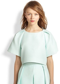 Tibi Pleated Wide-Sleeved Cropped Top