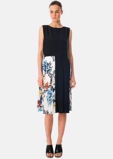 Tibi Print Pleated Dress