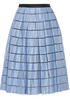 Tibi Raffia-effect cotton-blend skirt