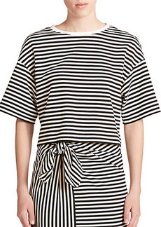 Tibi Ren Stripe Cropped Top