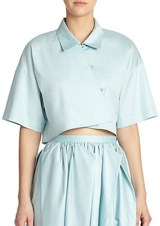 Tibi Satin Poplin Cropped Top