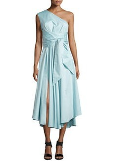 Tibi Satin Poplin One-Shoulder Wrap Dress
