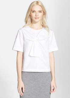 Tibi Satin Poplin Short Sleeve Blouse