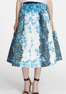 Tibi 'Sidewalk' Floral Print Silk Crêpe de Chine Full Midi Skirt