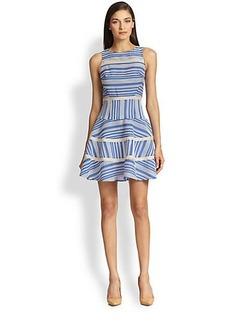 Tibi Silk Organza-Trimmed Contrasting Striped Dress
