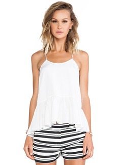 Tibi Silk Strappy Ruffle Cami Tank in White