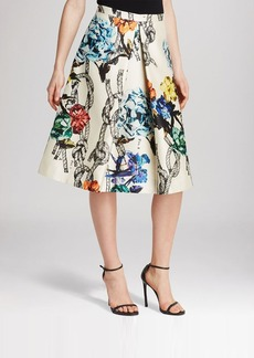 Tibi Skirt - Tattoo Print Silk Gazaar Pleated
