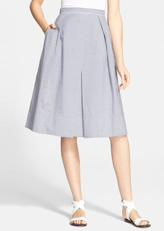 Tibi Stripe Cotton A-Line Skirt