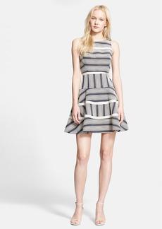 Tibi Stripe Cotton Blend Fit & Flare Dress