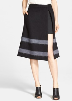 Tibi Stripe Felted Wool Blend A-Line Skirt