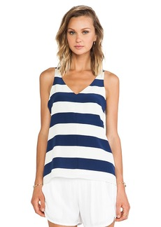 Tibi Stripe Silk Tank in Blue