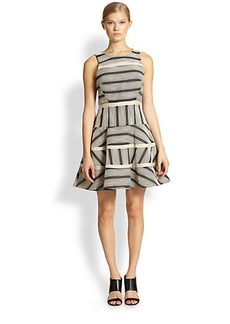 Tibi Striped Stretch Cotton Dress