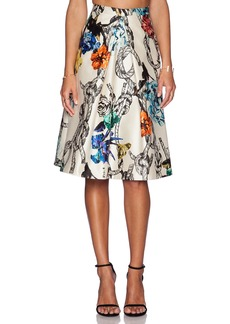 Tibi Tattoo Print Pleated Skirt