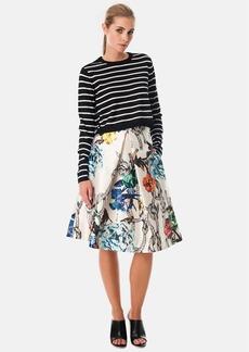 Tibi Tattoo Print Silk Gazar Pleated Skirt