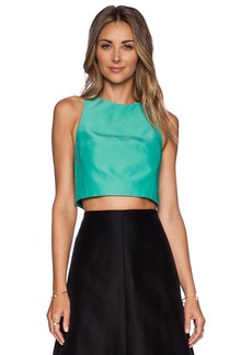 Tibi Techno Faille Cropped Top