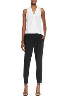 Tibi Tropical Suiting Jumpsuit, Black & White