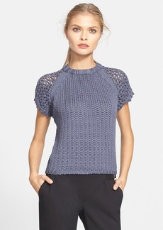 Tibi Tube Yarn Short Sleeve Sweater