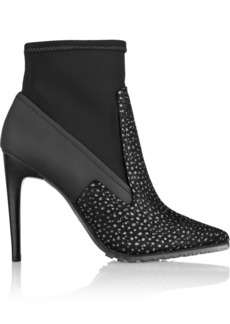 Tibi Vera printed brushed-leather and scuba-jersey ankle boots