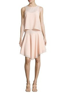 Tibi Windowpane Laser-Cut Layered Dress, Blush