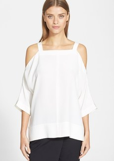 Tibi Cold Shoulder Silk Top