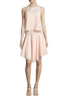 Windowpane Laser-Cut Layered Dress, Blush   Windowpane Laser-Cut Layered Dress, Blush