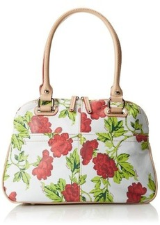 Tignanello Bed Of Roses Dome Satchel Pebble Printed Leather Top Handle Bag