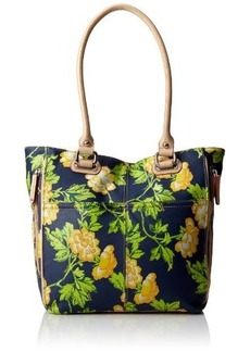 Tignanello Bed Of Roses Tote Pebble Printed Leather Top Handle Bag